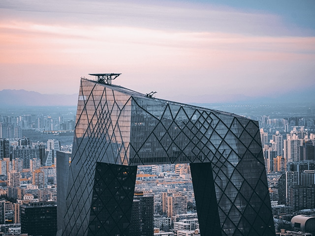 CMG Headquarters designed by dutch architect Rem Koolhas. Located in Beijing