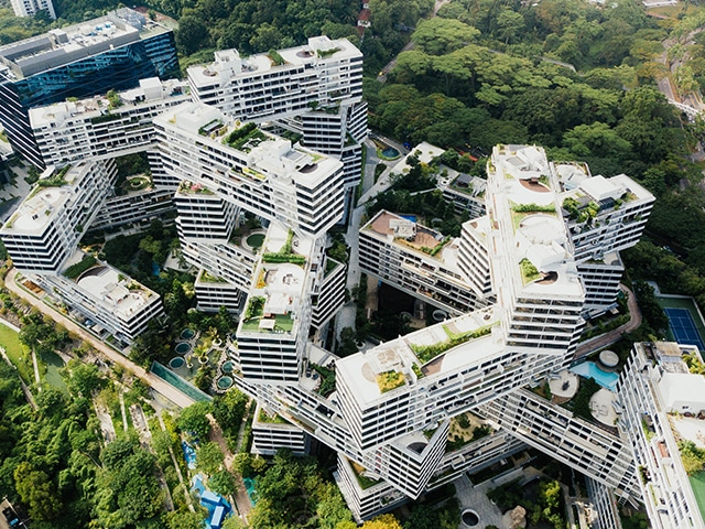 The Interlace residential complex building in Singapore