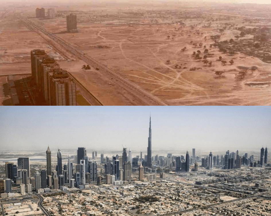 Dubai Skyline Before and After, Dubai, UAE