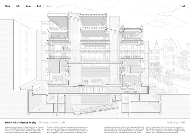 Sections for Yale Art and Architecture Building by Paul Rudolph