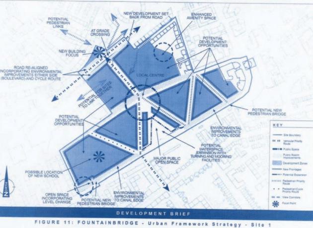 Blueprint framework for Fountainbridge by Oberlanders Architect