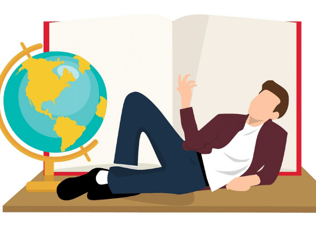 cartoon of man with globe and book