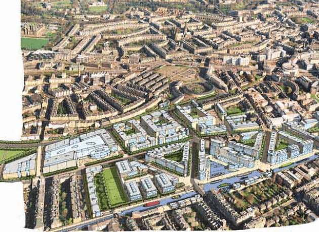 Ariel View of Masterplan for Fountainbridge by Oberlanders Architect