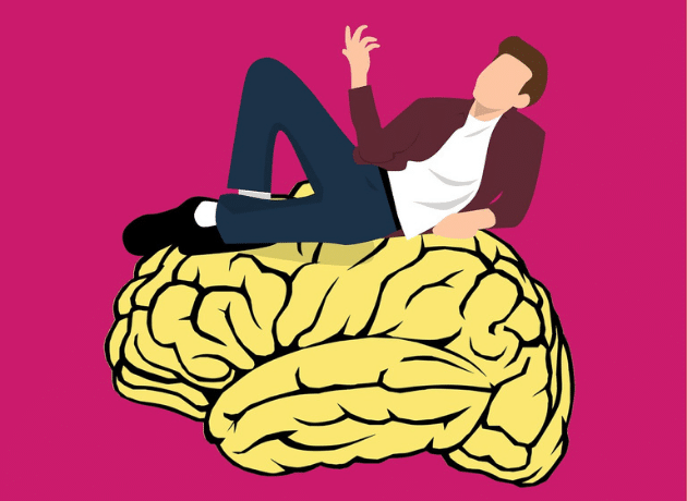 cartoon man with brain
