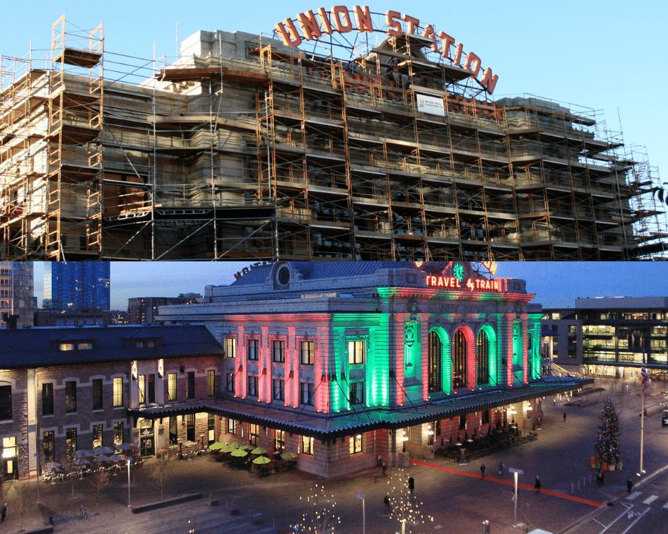 Denver Union Station Main Terminal Before and After, Denver Colorado