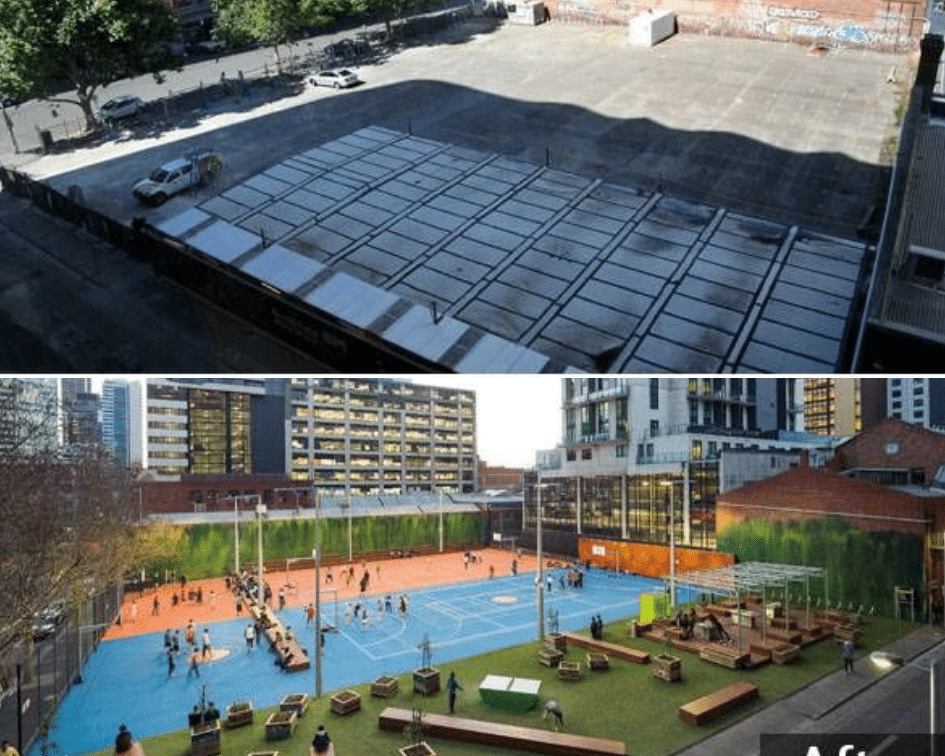 A'Beckett Urban Square Before and After, Melbourne Australia