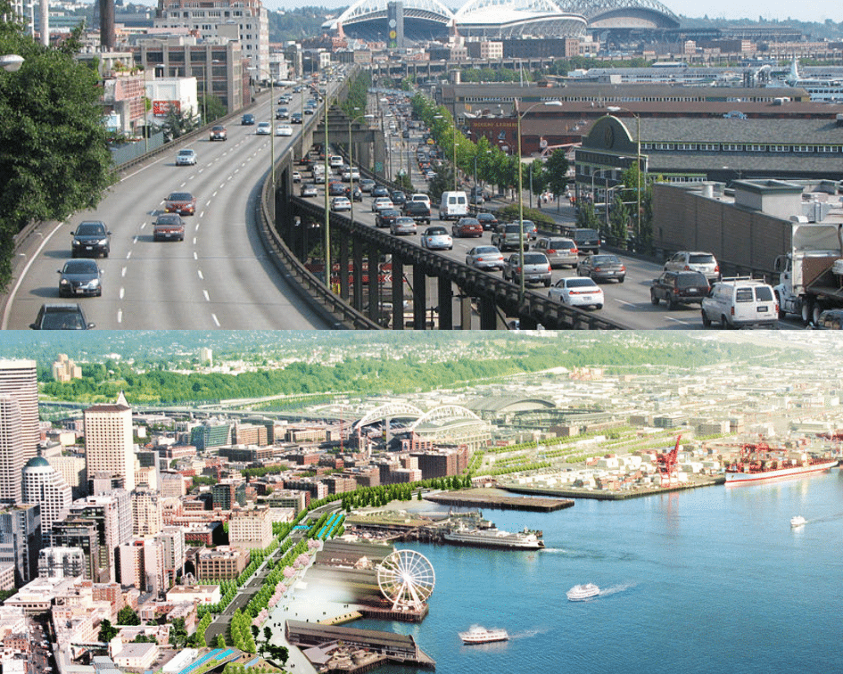 Alaskan Way Viaduct Before and After, Seattle, Washington