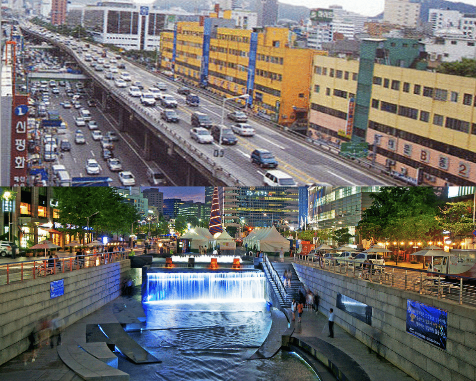 Cheonggycheon Stream Before and After, Seoul, South Korea