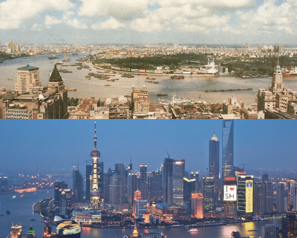 Shanghai Skyline Before and After, Shanghai, China