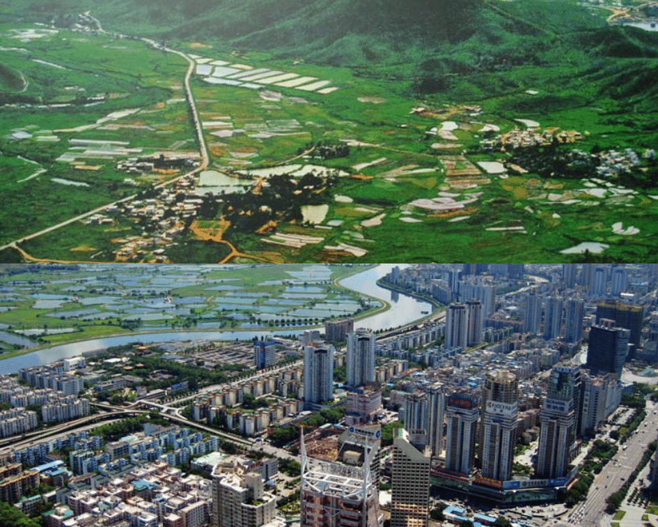 Shenzen Skyline Before and After, Shenzen, China