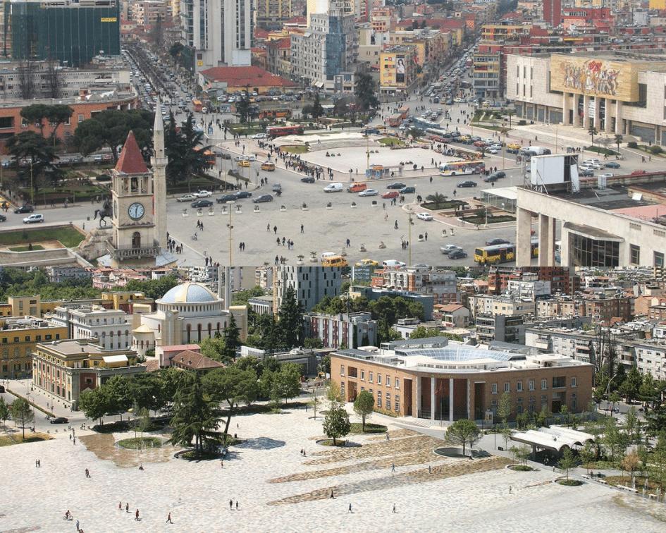 Skanderberg Square Before and After, Tirana, Albania