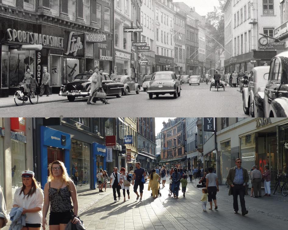 Strøget Before and After, Copenhagen, Denmark
