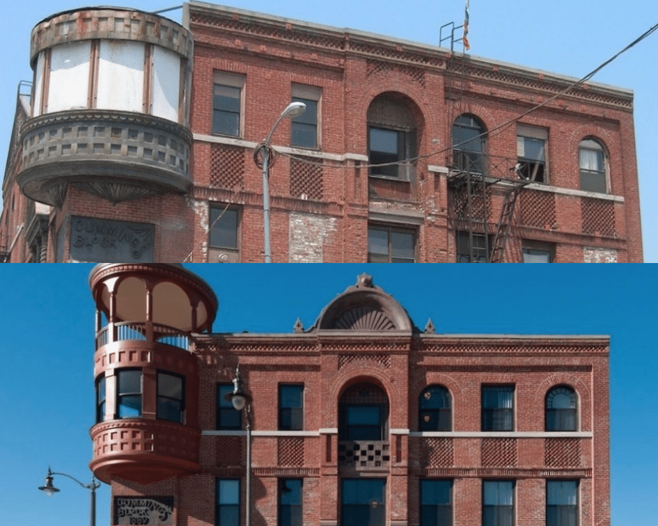 Boyle Hotel Before and After, Los Angeles, California