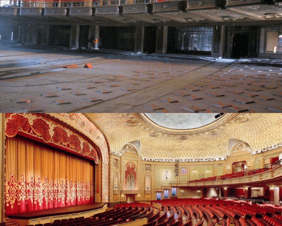 Tennessee Theater Before and After, Knowville, Tennessee