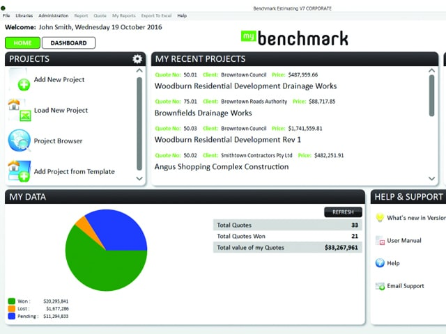 Benchmark Estimating Software  in action