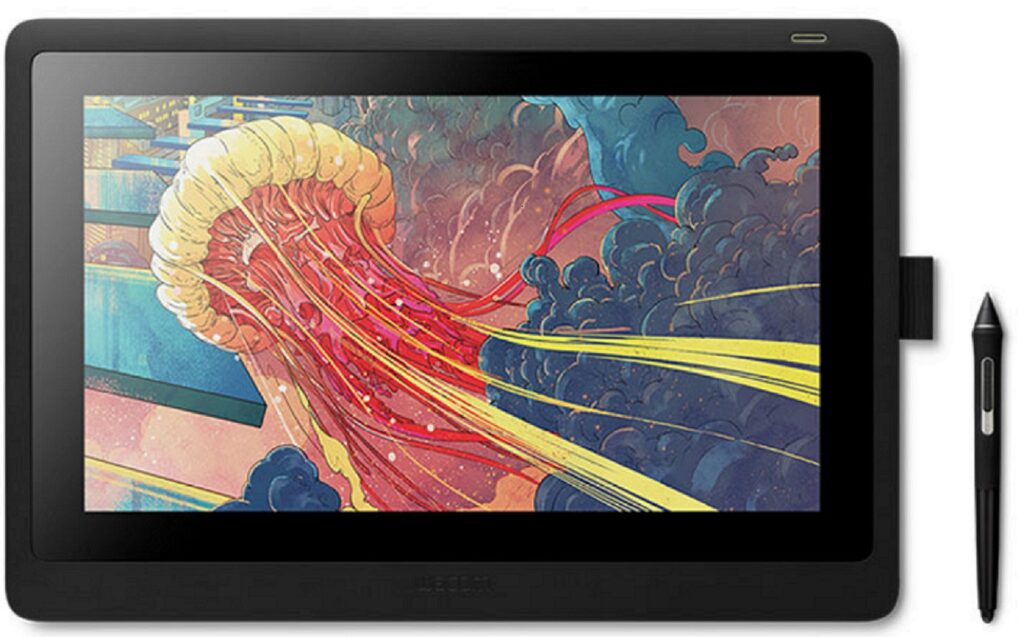 Image with a tablet displaying colorful drawing