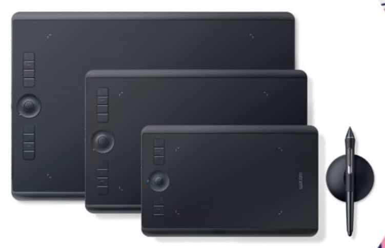 Three black tablets in different sizes