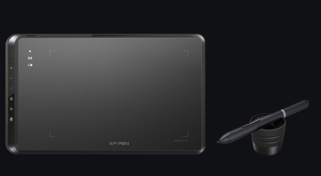 Black screen with a pen digital tablet for architect