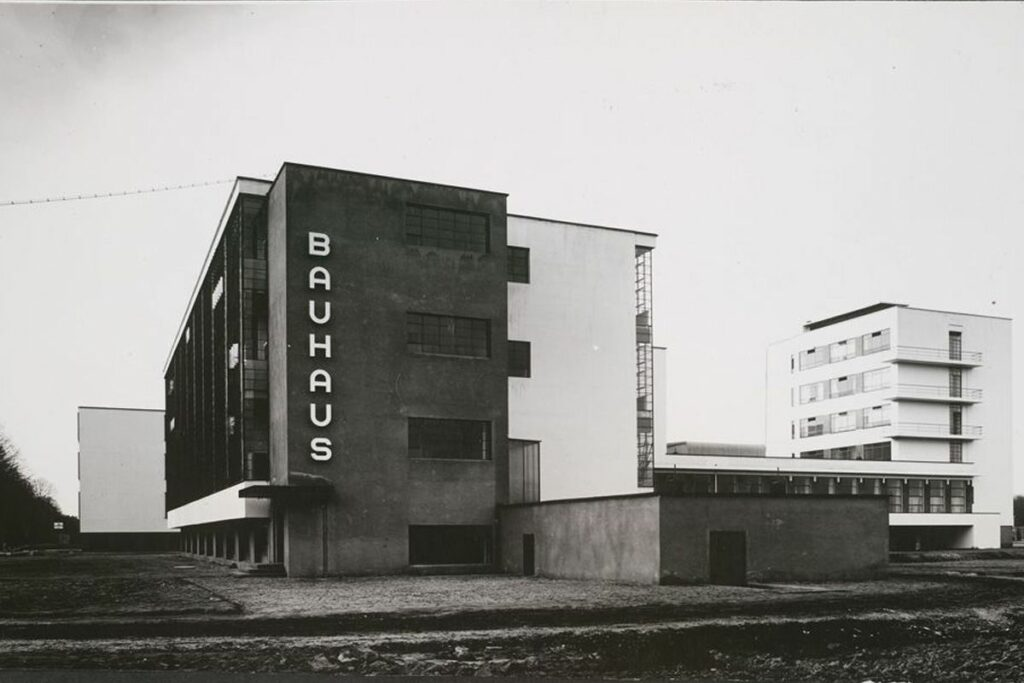 Black and white photo of the first construction of the Bauhaus school.