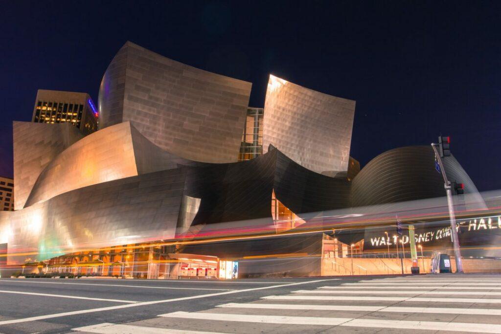 The Walt Disney Concert Hall at night.