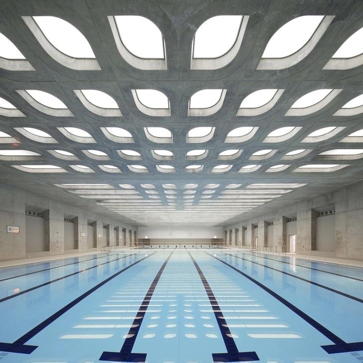 The London Aquatics Center designed by Zaha Hadid.