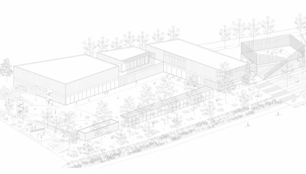 The winning proposal for the Vevče swimming pool complex.