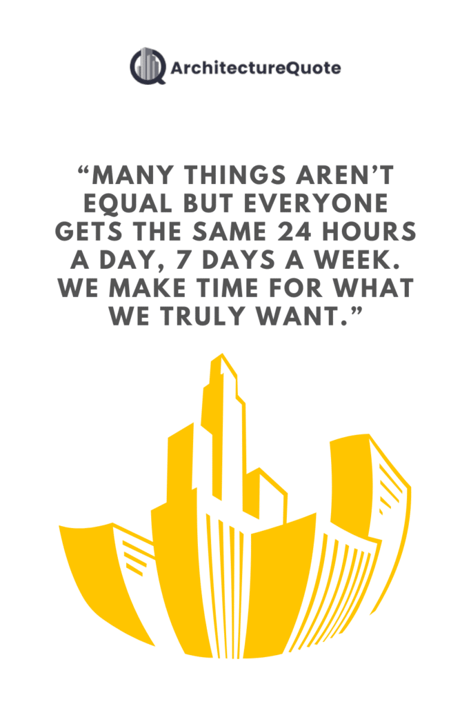 """""""Many things aren't equal, but everyone gets the same 24 hours a day, 7 days a week. We make time for what we truly want."""""""