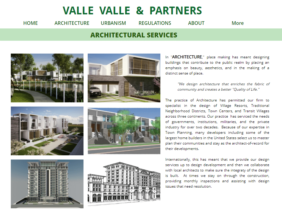 example of architectural services home page