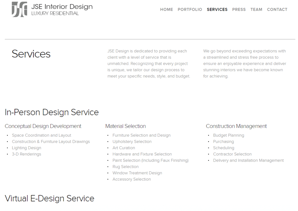 architect services page