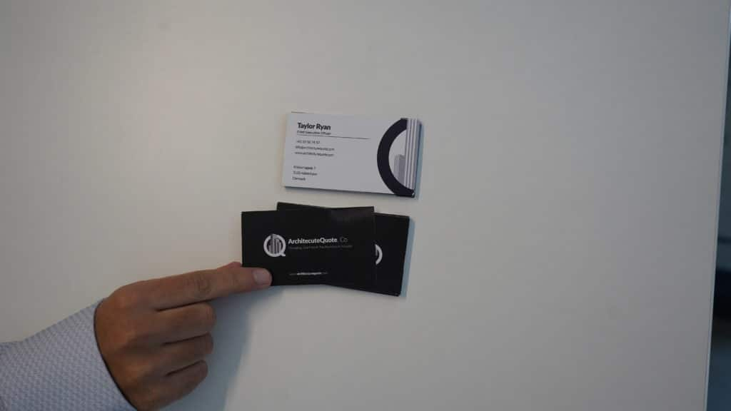 beautiful hand taking an architecture business card