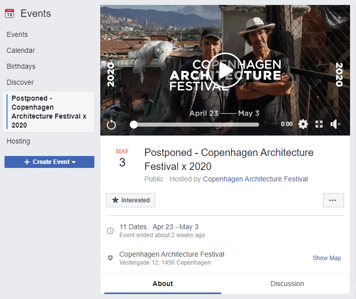 Copenhagen architecture festival event on Facebook