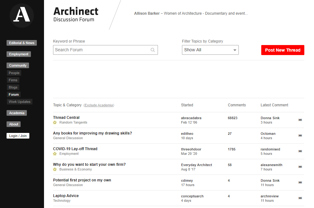 archinect architecture forum