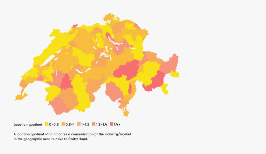 Map of Switzerland showing concentration of Swiss architecture industry in relation to area