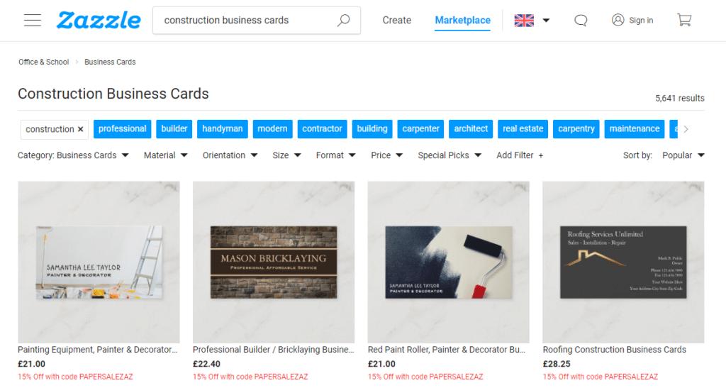 business cards website