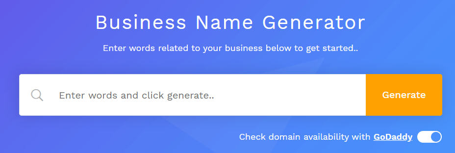 field where you can enter words to generate business names