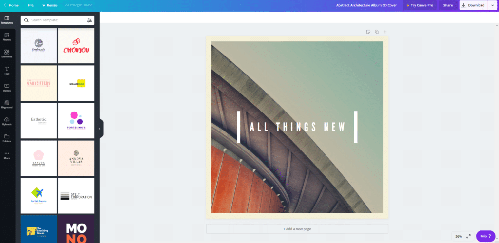 Canva templates for creatiing images