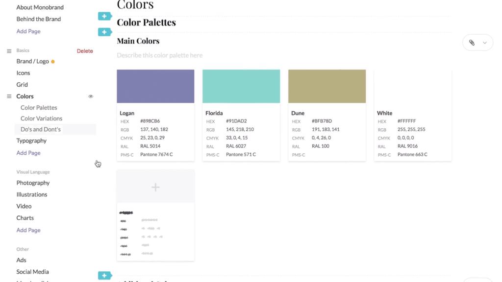 screenshot of sample color palettes
