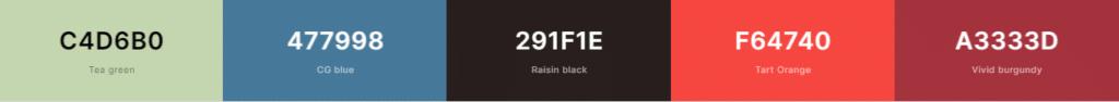 color palette - bar showing different colors
