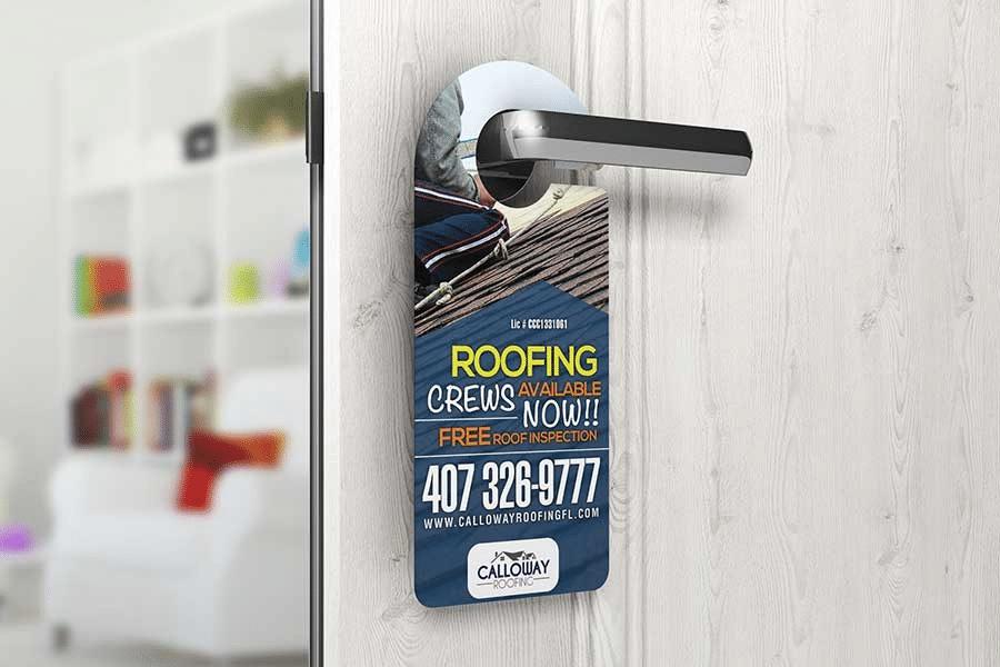 door hangers advertising for roofing crew hanging on a door