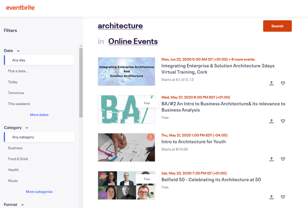 event brite list of online vents in architecture