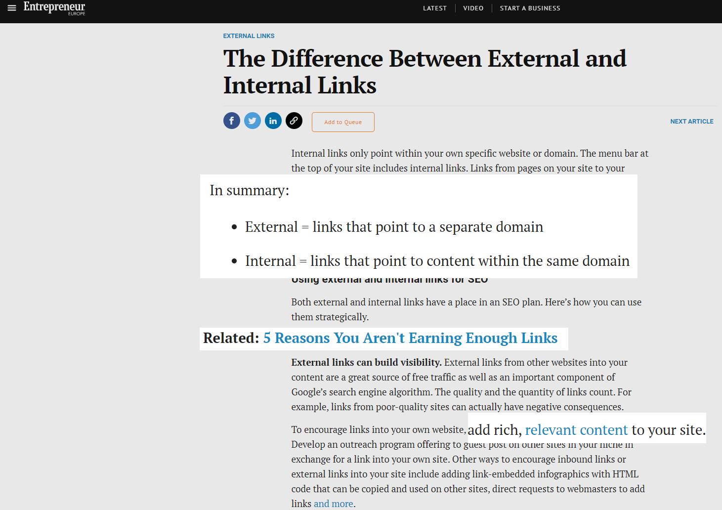 article on external vs internal links