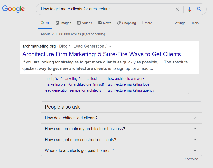 Google SERP first result or 'how to get more clients for architecture'