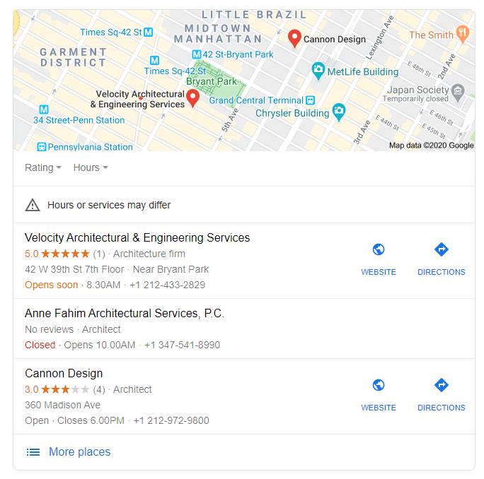 google listing maps