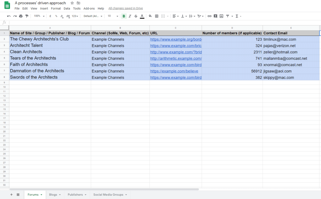 Google spreadsheet for architecture