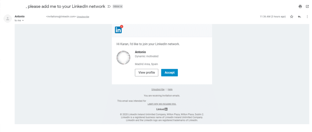 Linkedin email invitation to connect
