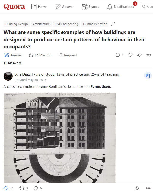 Quora question related to architecture