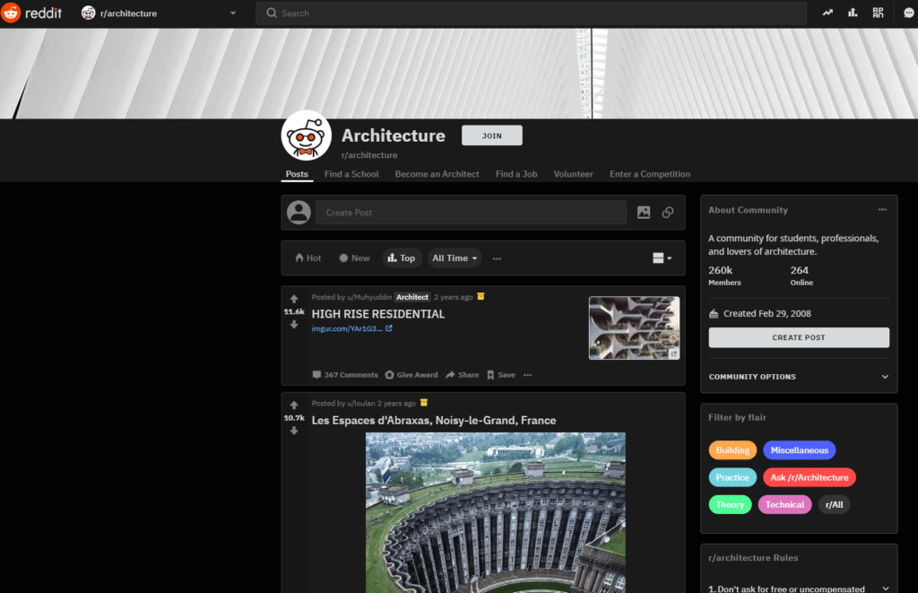 Reddit page for architecture