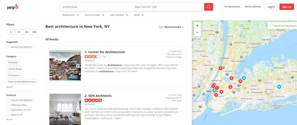 yelp search results for best architecture in New York