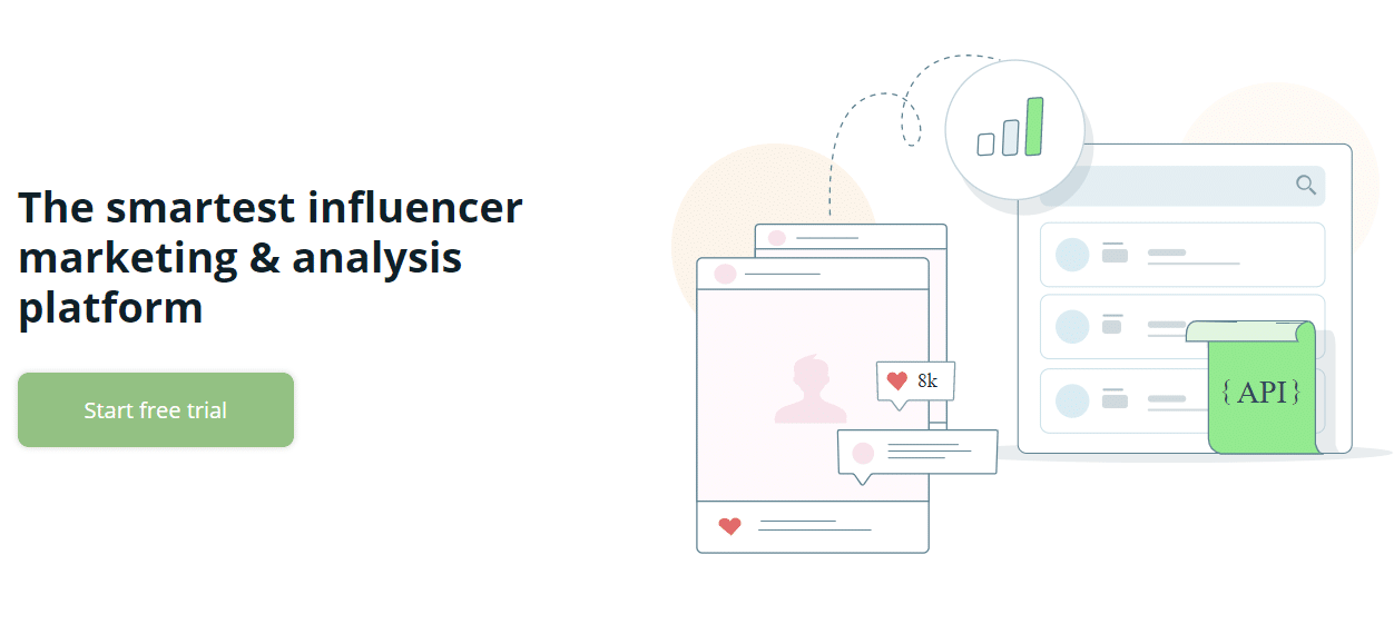 Screenshot of a influencer marketing platform